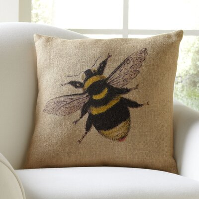 Bumblebee Burlap Throw Pillow