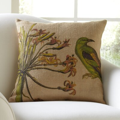 Bird & Flower Burlap Throw Pillow