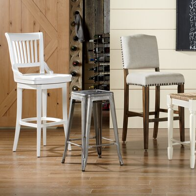 Carter Swivel Stool Seat Height: 34 inch, Finish: White