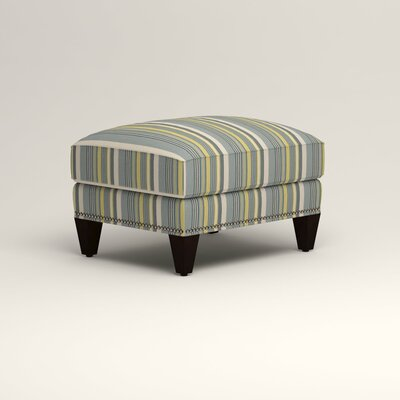 Larson Ottoman Upholstery: Theron Naval Stripe, Nailhead Detail: Trim