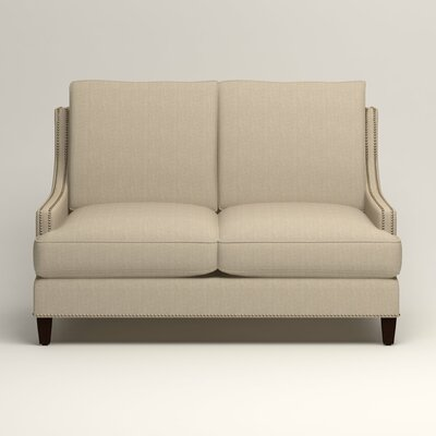 Larson Nailhead Trim Loveseat Upholstery: Watson Malt Blended Cotton