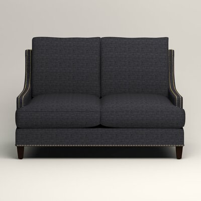 Larson Nailhead Trim Loveseat Upholstery: Rowley Navy Tweed