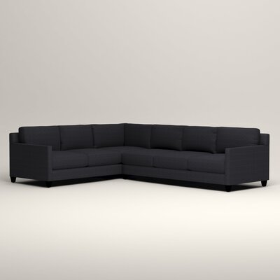Kerry L-Shaped Sectional Orientation: Left Facing, Upholstery: Rowley Navy Tweed