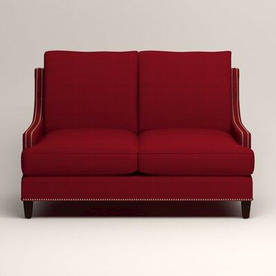 Larson Nailhead Trim Loveseat Upholstery: Tillery Crimson