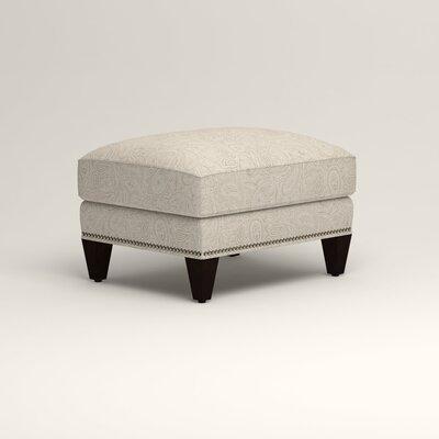 Larson Ottoman Upholstery: Stewart Paisley Linen, Nailhead Detail: Trim
