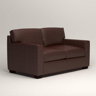 Pratt Leather Loveseat Upholstery: Mahogany Leather