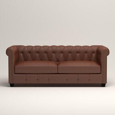 Hawthorn Leather Chesterfield Loveseat Upholstery: Steamboat Putty