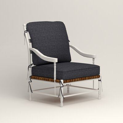 Stephanie Arm Chair Color: Rowley Navy Tweed