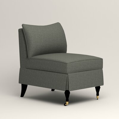 Kendall Slipper Chair Color: Bailey Lagoon Blended Linen