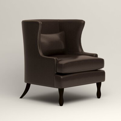 Solomon Leather Wingback Chair Fabric: Steamboat Driftwood