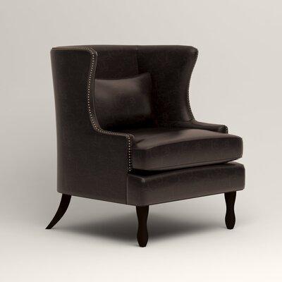 Solomon Leather Wingback Chair Fabric: Liberty Espresso