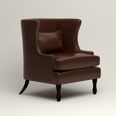 Solomon Leather Wingback Chair Fabric: Mahogany Leather