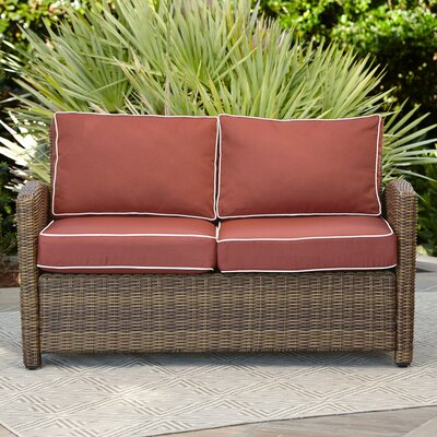 Lawson Wicker Loveseat with Cushions Color: Sangria
