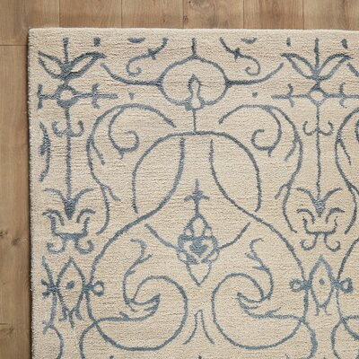 Louisa Ivory & Navy Rug Size: 39 x 59