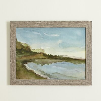 Seascape Watercolor Framed Print