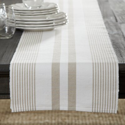 Hooper Striped Runner Color: Sandstone/White