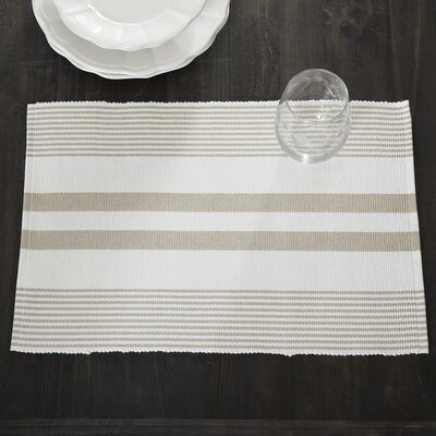 Hooper Striped Placemats (Set of 6) Color: Sandstone/White