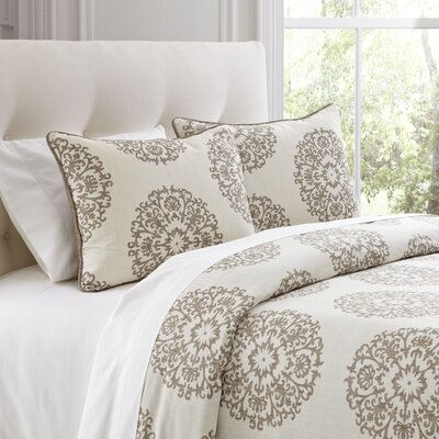 Carol Beige Duvet Cover Set Size: King
