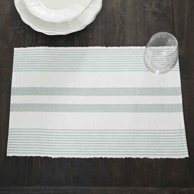 Hooper Striped Placemats (Set of 6) Color: Seaglass/White