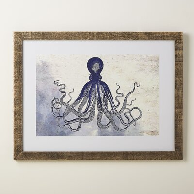 Octopus Deep Blue Framed Print
