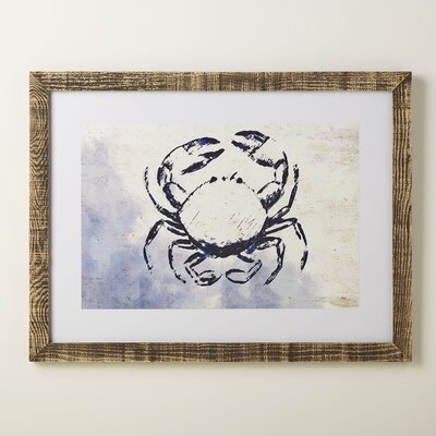 Crab Deep Blue Framed Print