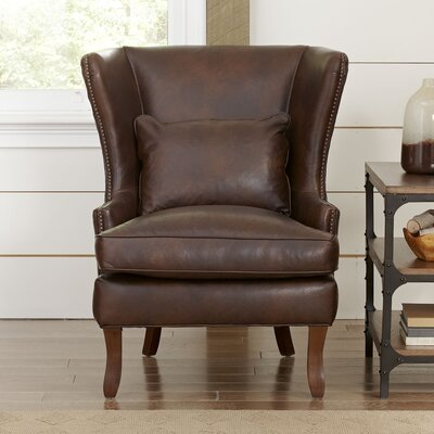 Solomon Leather Wingback Chair Fabric: Vintage Flagstone