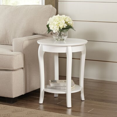 Alberts Round Side Table Color: White