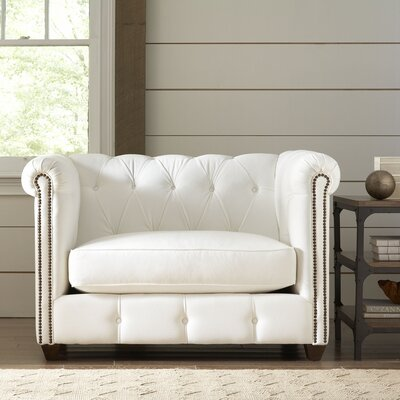 Hawthorn Chesterfield Chair Upholstery: Oakley Ivory