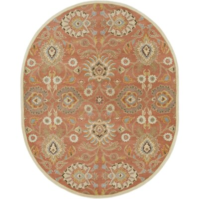 Arden Burnt Orange Tufted Wool Area Rug Rug Size: Oval 6 x 9