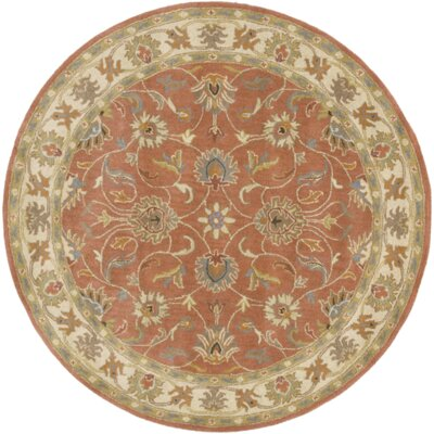 Arden Burnt Orange Tufted Wool Area Rug Rug Size: Round 4