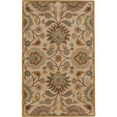 Phoebe Parchment & Teal Rug Rug Size: Rectangle 4 x 6