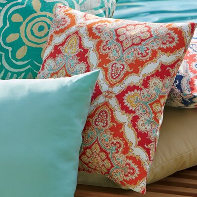 Merida Outdoor Pillow Color: Orange/Pink