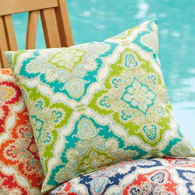 Merida Outdoor Pillow Color: Green/Blue