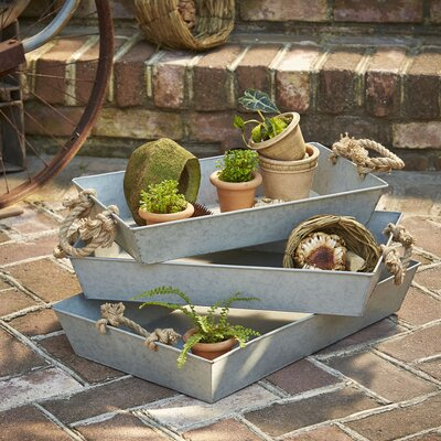 Galvanized Garden Planter Trays