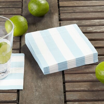 Striped Cocktail Napkins (Set of 3) Color: Soft Blue