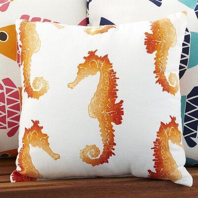 Seahorse Herd Indoor/Outdoor Pillow Color: Orange