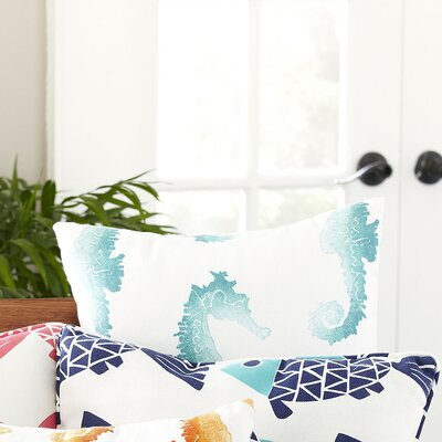 Seahorse Herd Indoor/Outdoor Pillow Color: Blue