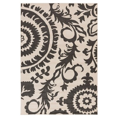 Hattie Parchment & Pewter Indoor/Outdoor Rug Rug Size: Rectangle 53 x 76