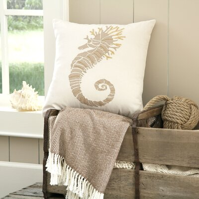 Seahorse Marina Embellished Pillow Cover