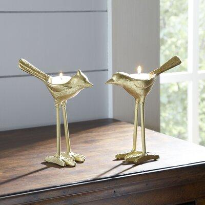 Gilded Bird Candleholders