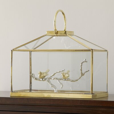 Glass Bird Lantern Size: 14 H x 17 W x 8 D