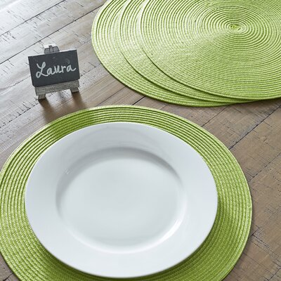 Round Braided Placemats Color: Lime