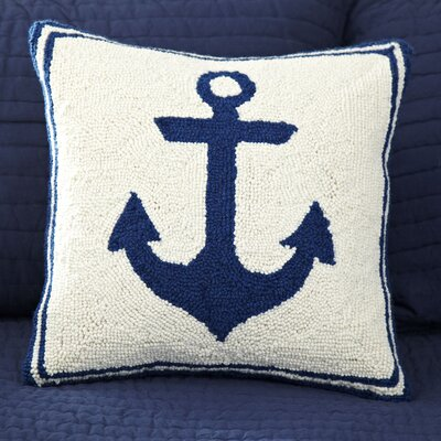 Anchor Hooked Wool Throw Pillow