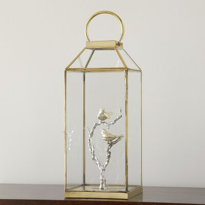 Glass Bird Lantern Size: 20 H x 8 W x 8 D