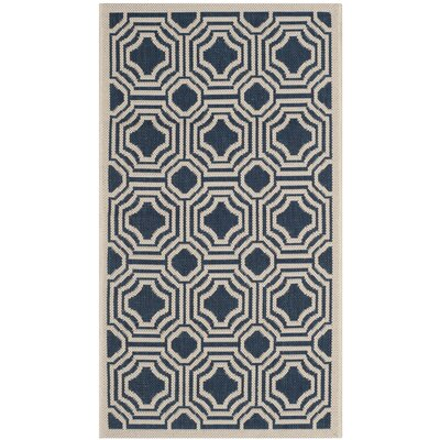 Navy/Beige Indoor/Outdoor Area Rug Rug Size: Rectangle 27 x 5