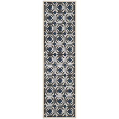 Navy/Beige Indoor/Outdoor Area Rug Rug Size: Runner 23 x 8