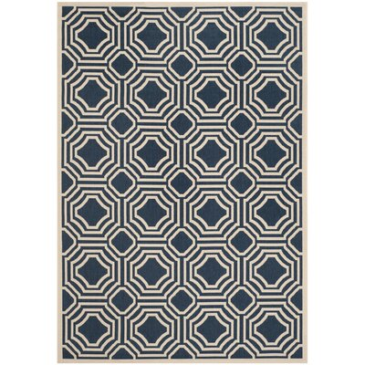 Navy/Beige Indoor/Outdoor Area Rug Rug Size: Rectangle 4 x 57