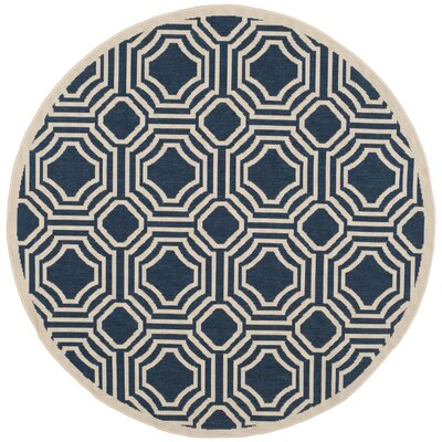 Navy/Beige Indoor/Outdoor Area Rug Rug Size: Round 5