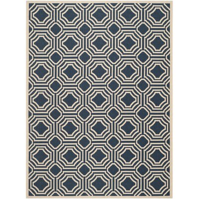 Navy/Beige Indoor/Outdoor Area Rug Rug Size: Rectangle 9 x 12