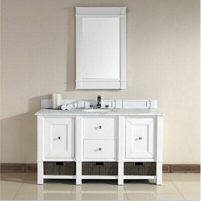 Bancroft 60 Double Vanity Set� Base Finish: White, Top Finish: Rustic Black